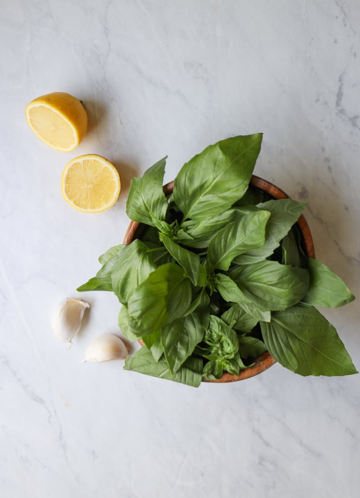 lemon basil vinaigrette in a bowl