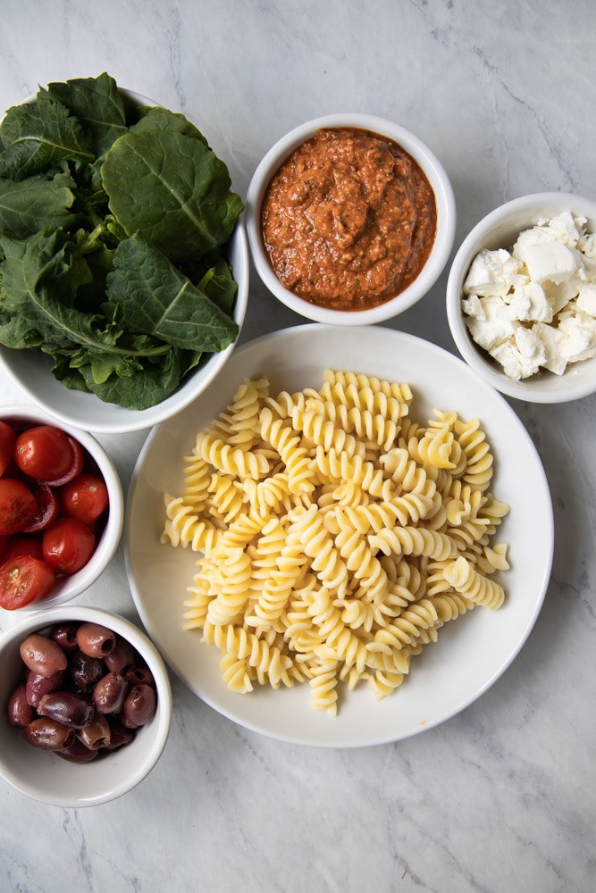 ingredients prepped for red pepper pesto pasta salad