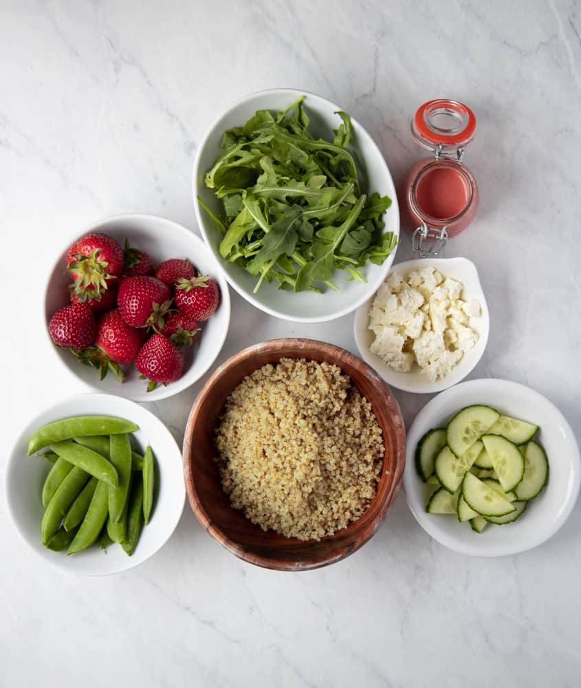 ingredient bowls for the strawberry summer quinoa salad