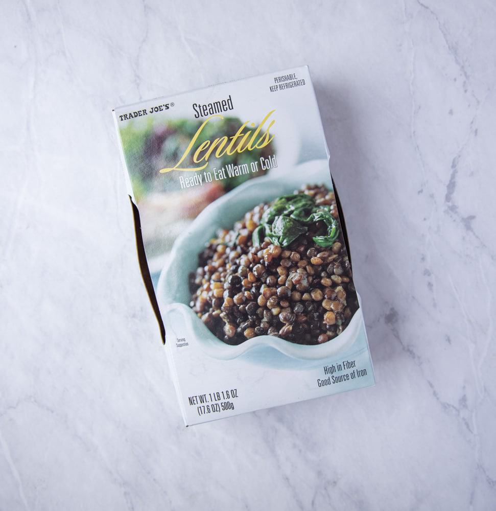 box of pre cooked lentils from trader joes