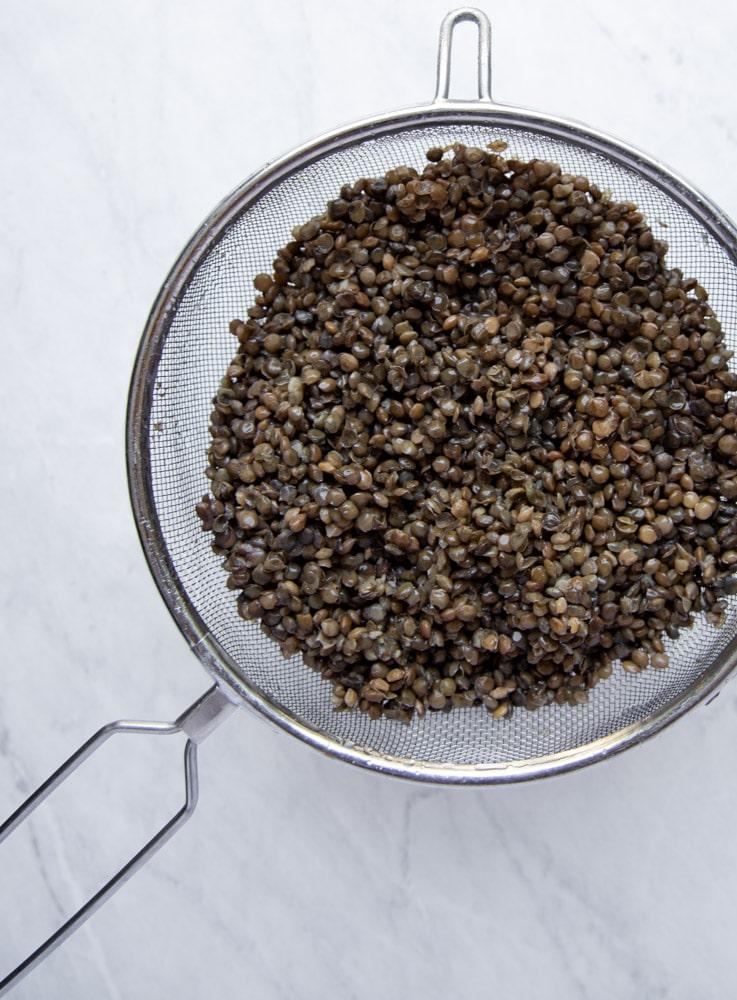 lentils draining in a colander