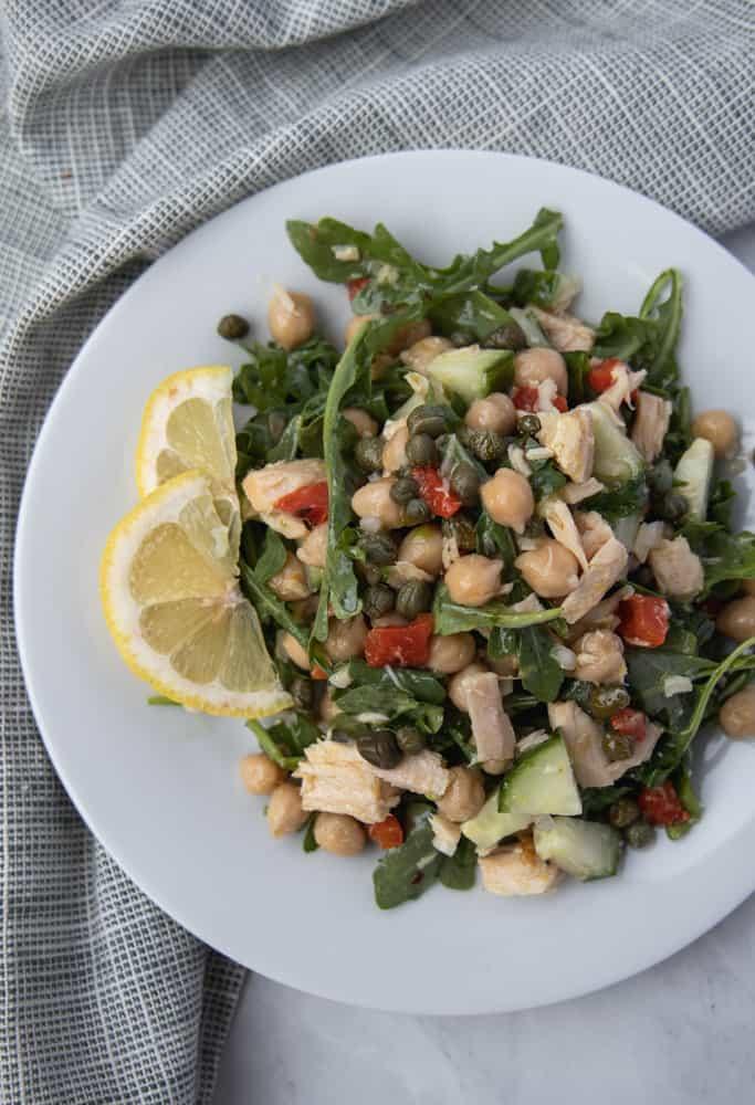 healthy tuna salad on a plate