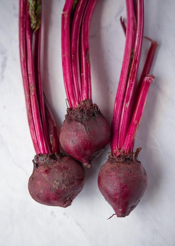 three raw beets