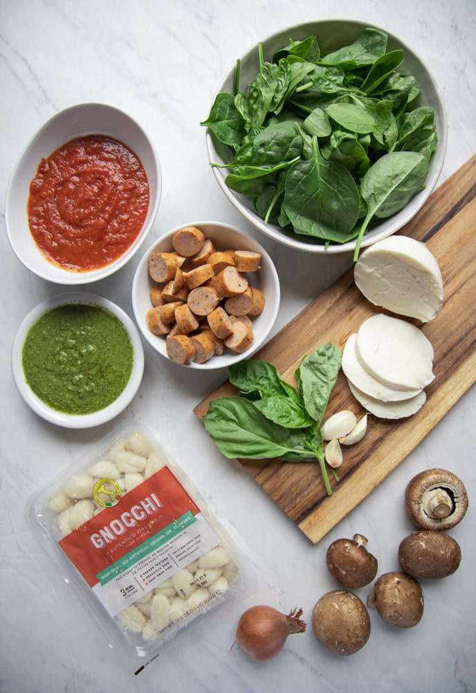 ingredients to make the baked gnocchi laid out