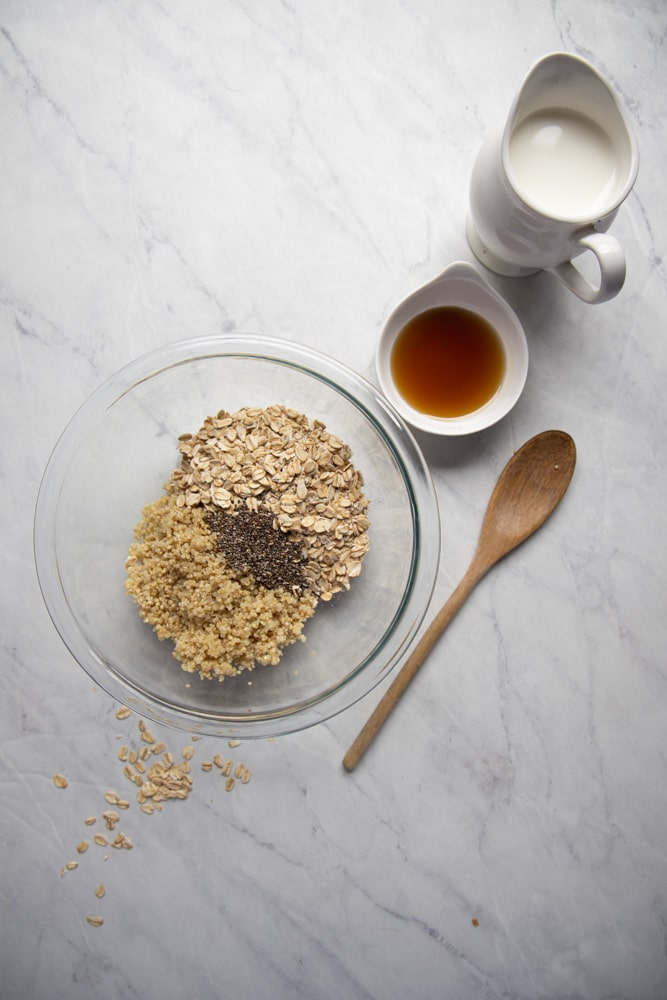 mixing bowl filled with oats, quinoa and chia seeds