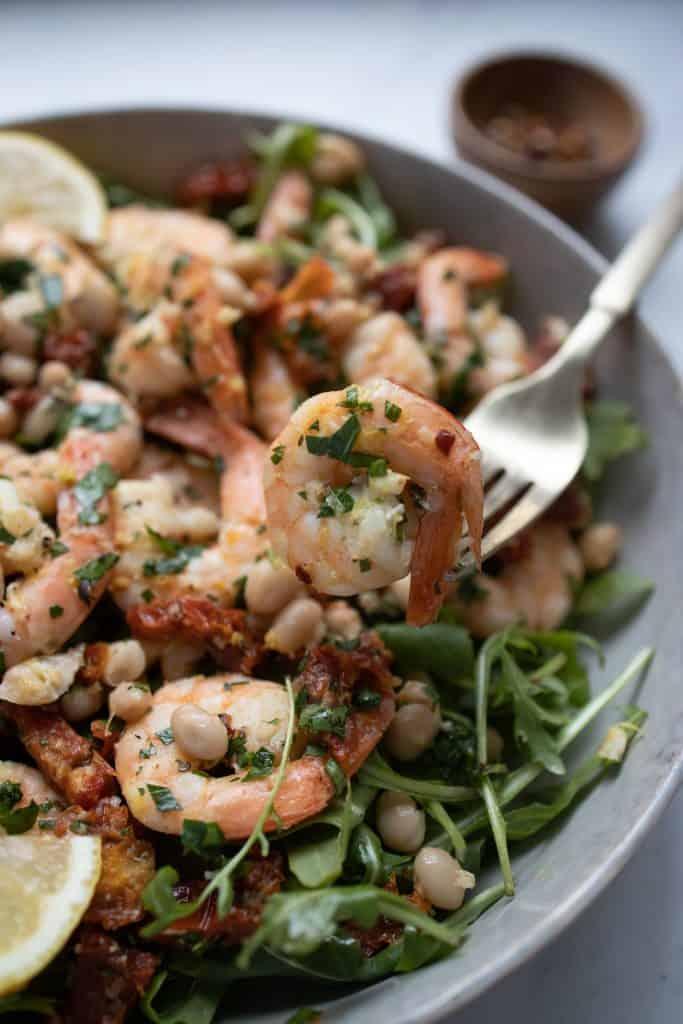 closeup of shrimp on fork