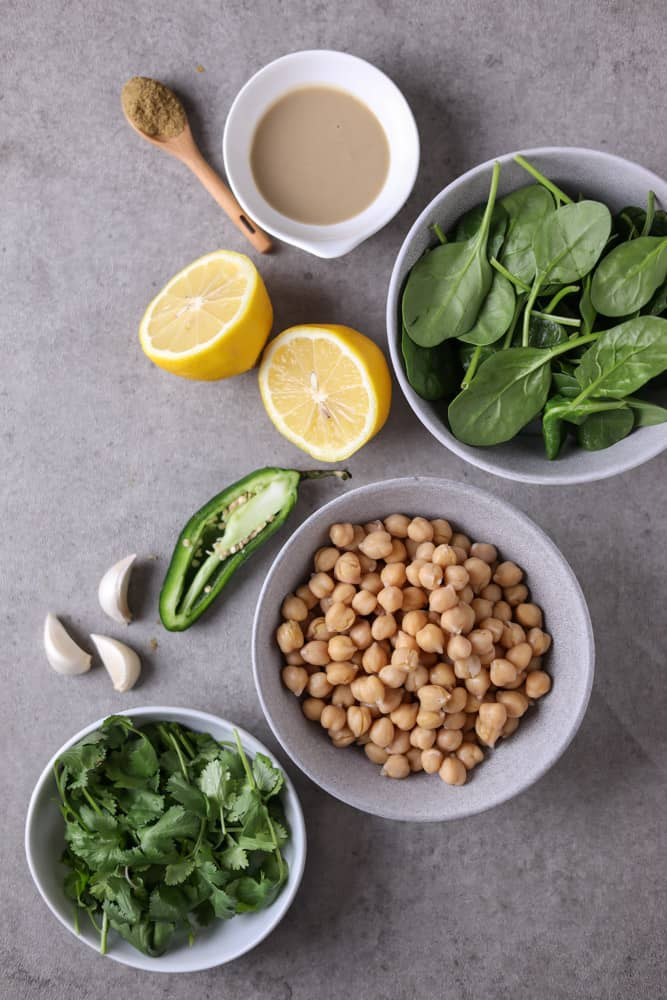 ingredients for cilantro jalapeno sauce in individual bowls