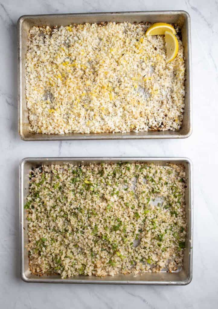 two types of cauliflower rice on sheet pans