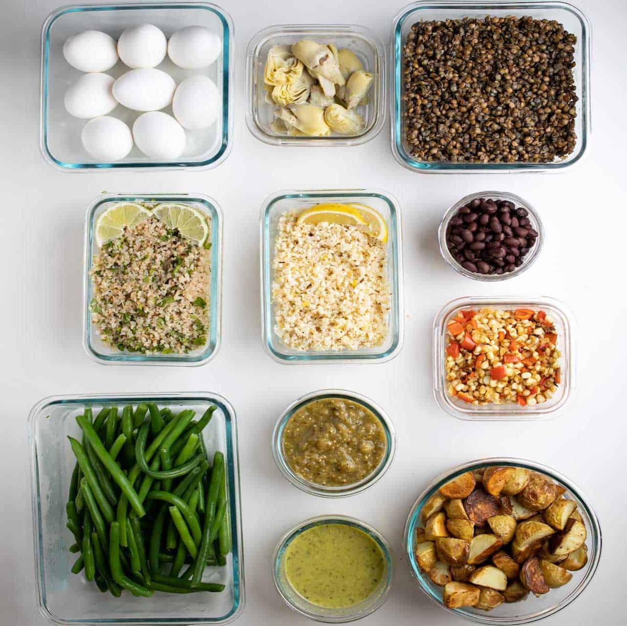 overhead photos of all the individual ingredients prepped in glass containers