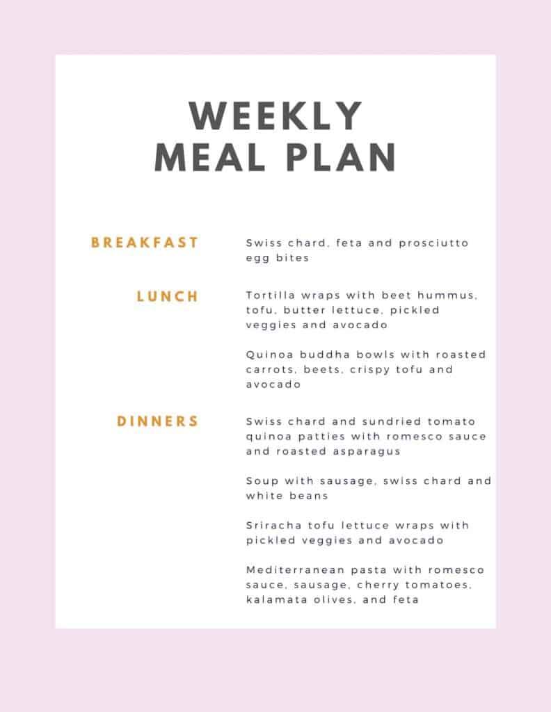 menu for weekly meal prep plan