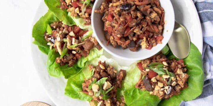 chicken lettuce wraps on a platter