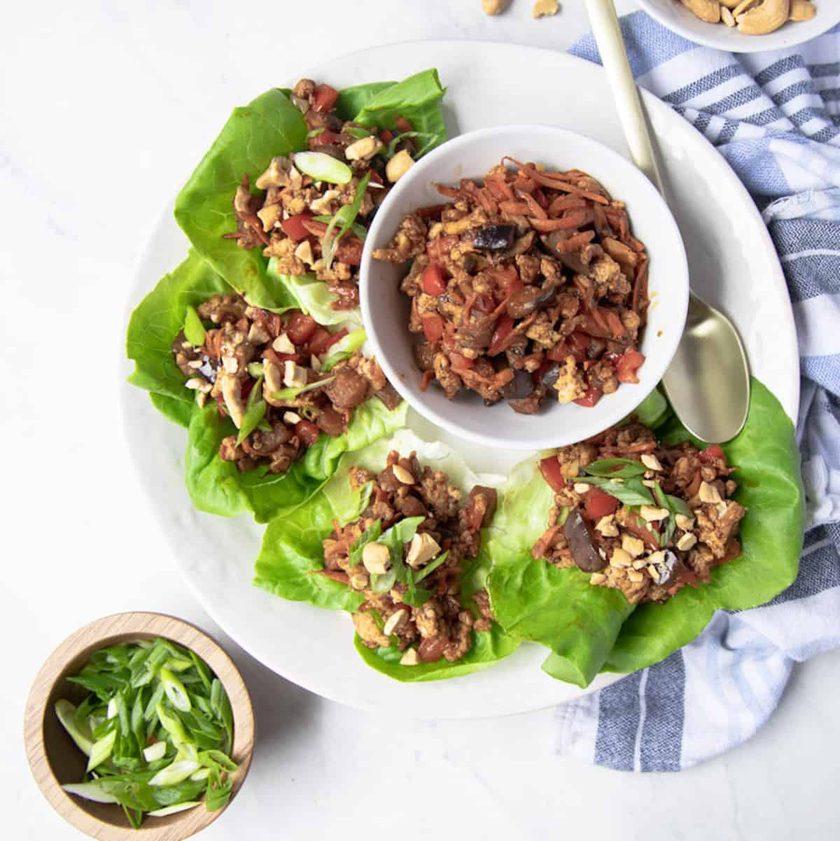 chicken lettuce wraps on a platter