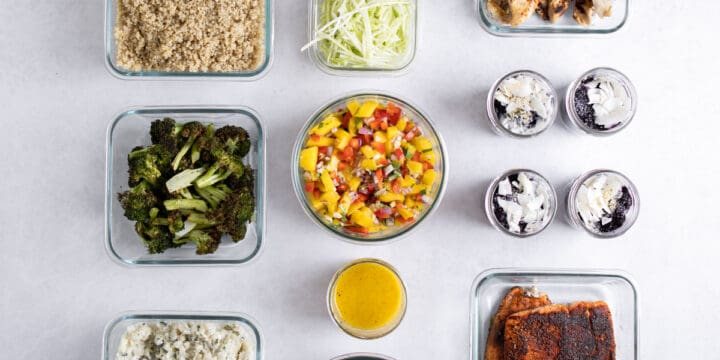 meal prepped ingredients in glass containers