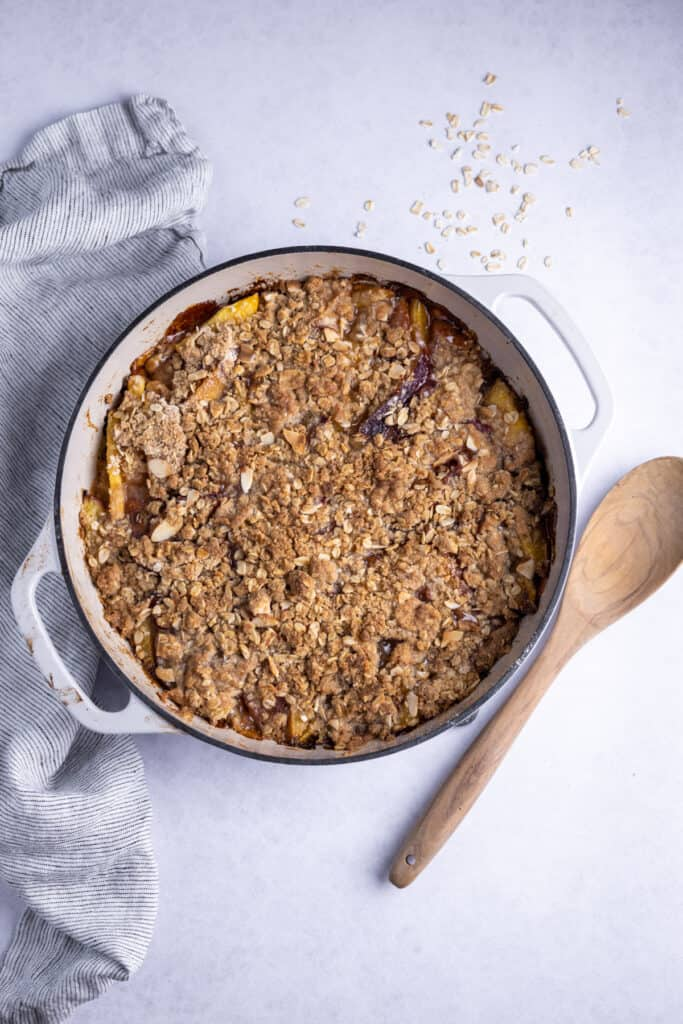 baked nectarine crumble in a baking dish