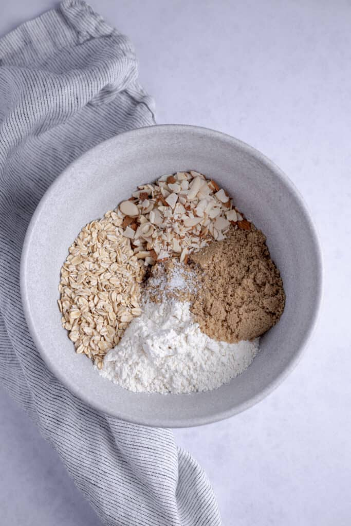 crumble topping ingredients in a bowl