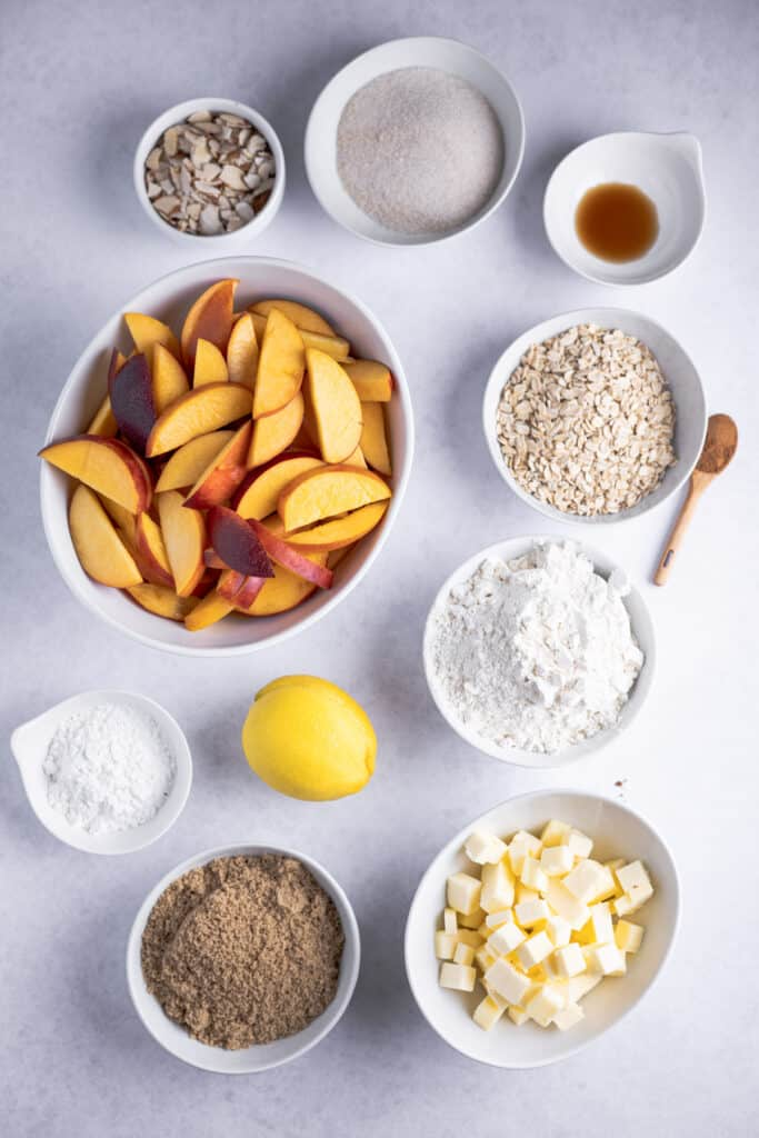ingredients for crumble portioned into individual bowls