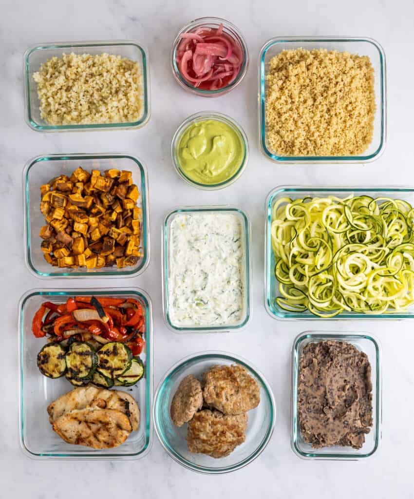 individually prepped ingredients in containers