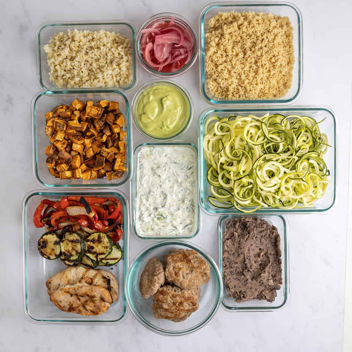 individually prepped ingredients in glass containers