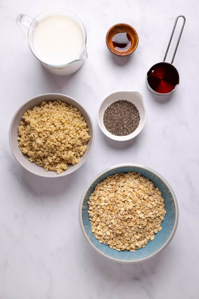 ingredients to make overnight quinoa oats in individual bowls